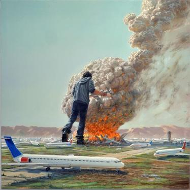 Self-Portrait as Giant with Planes, 2011