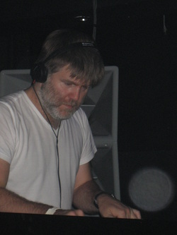 James Murphy of LCD Soundsystem DJing